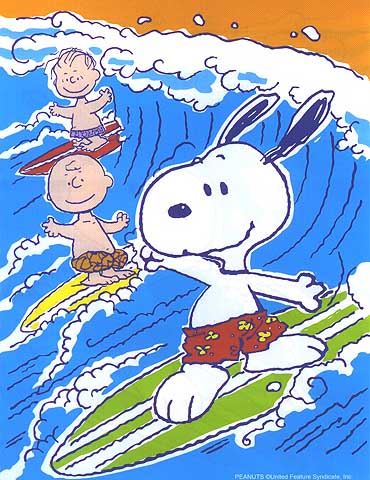 snoopy-surfing