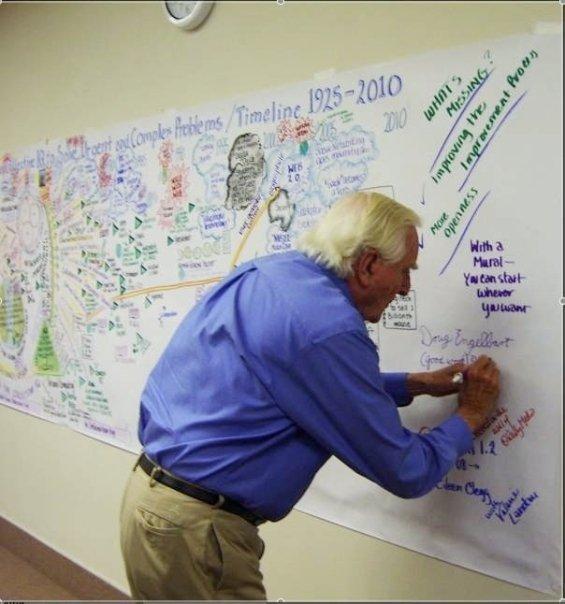 doug signing mural