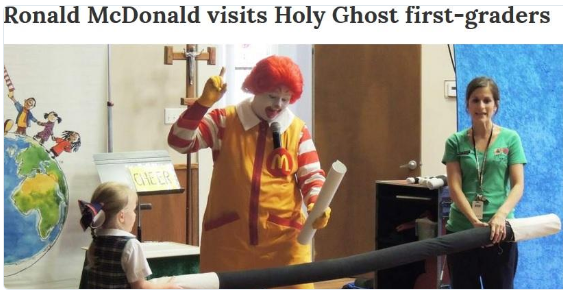ronald mcdonald in schools