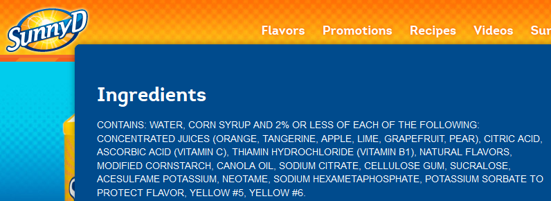 sunny d ingredients 2014
