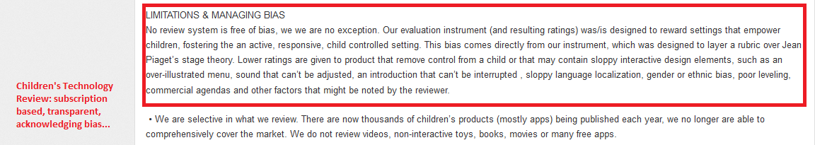 childrens tech review apps disclaimers